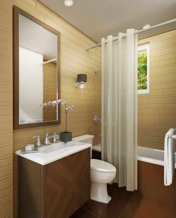 Badeværelse i et sommerhus flise design. Badeværelse design i huset
